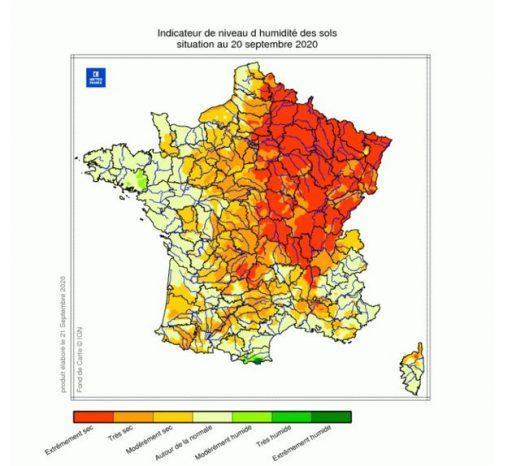 Une autre carte en zone rouge: l'été 2020 est le plus sec jamais enregistré en France