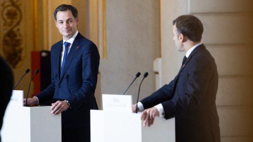 Alexander De Croo (Open Vld) en Emmanuel Macron