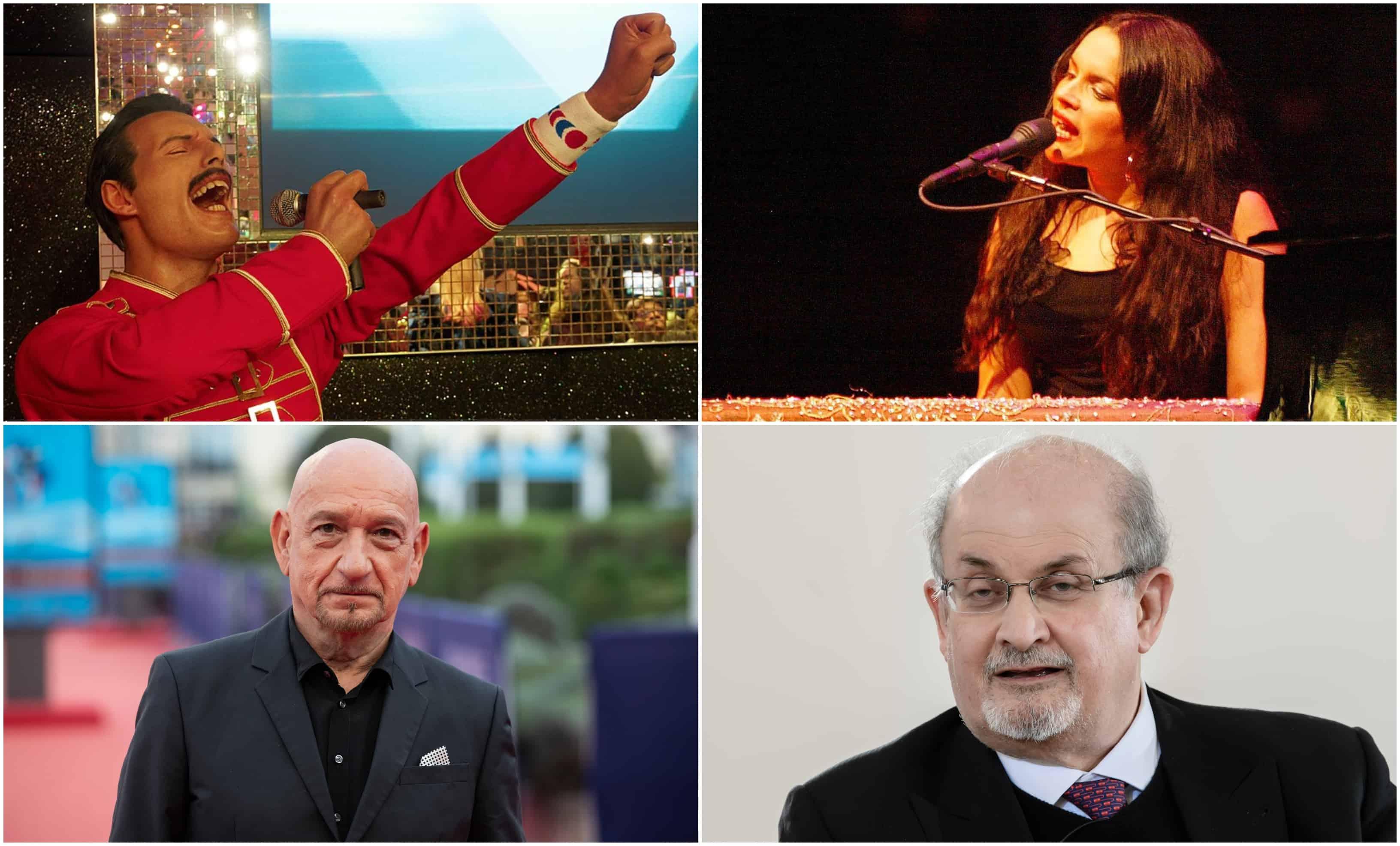 Een collage toont Freddy Mercury en Norah Jones bovenaan, en Ben Kingsley en Salman Rushdie onderaan.