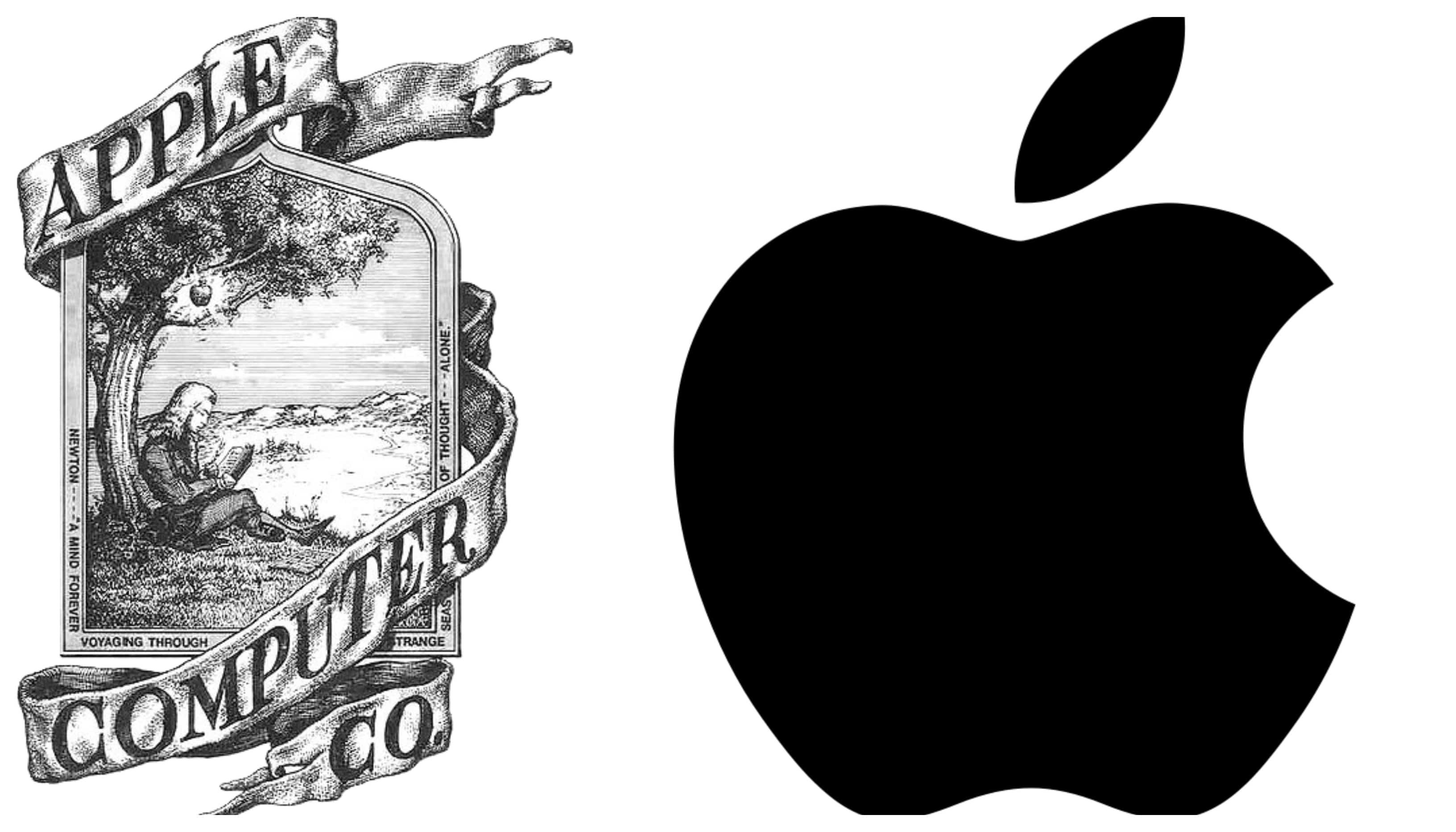 Het logo van Apple rechts naast het eerste logo waarop Isaac Newton afgebeeld staat.