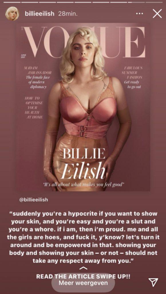 Billie Eilish instagram story