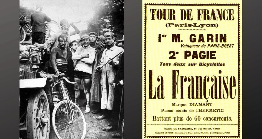 Les coureurs du premier Tour de France à côté d'une affiche.