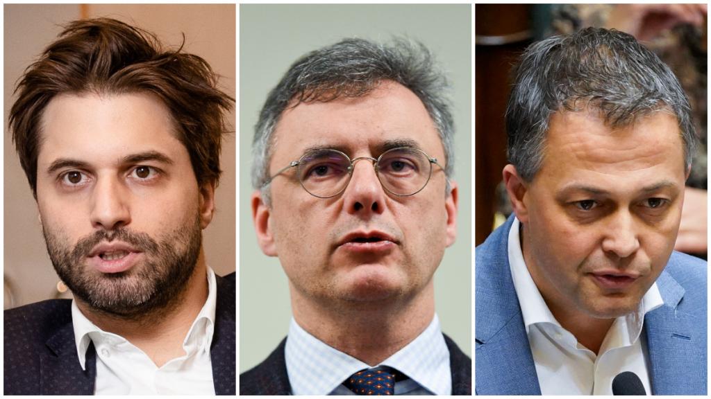 Georges-Louis Bouchez (MR), Joachim Coens (CD&V) en Egbert Lachaert (Open Vld)