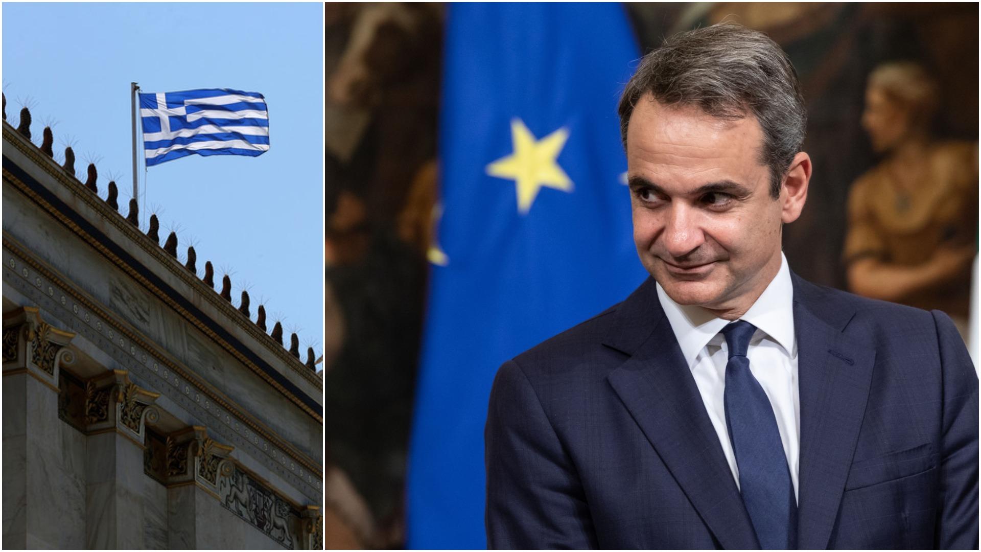 Greek flag and Kyriakos Mitsotakis