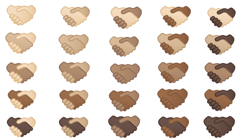 Handdruk-emoji huidtintent
