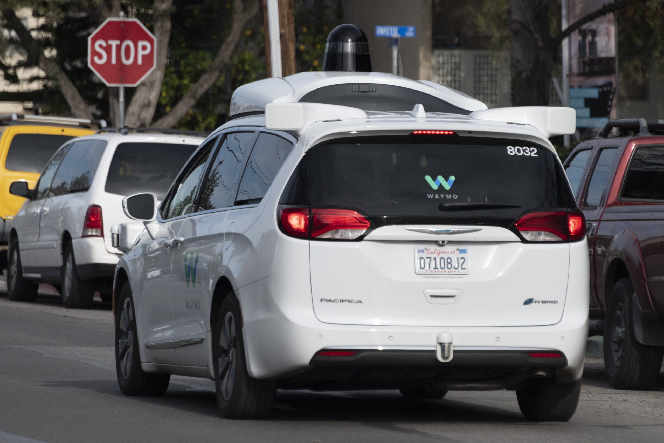 Une des voitures autonomes de Waymo en test à Mountain View, en Californie