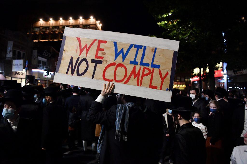 Protesten tegen nieuwe coronamaatregelen in Brooklyn, New York.