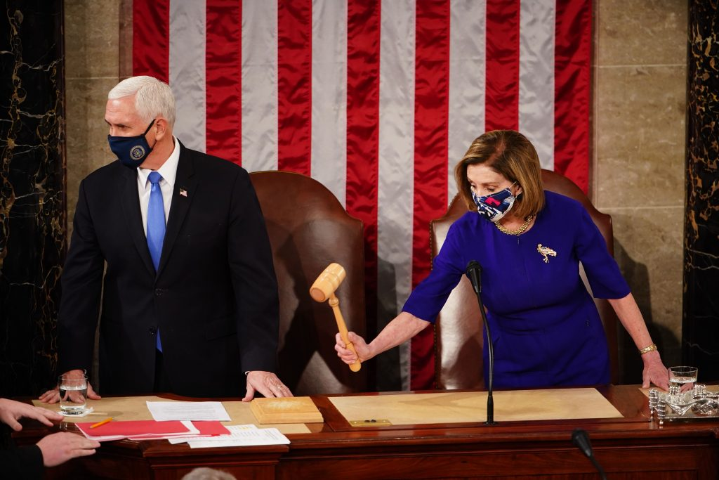 Vicepresident Mike Pence en House Speaker Nancy Pelosi