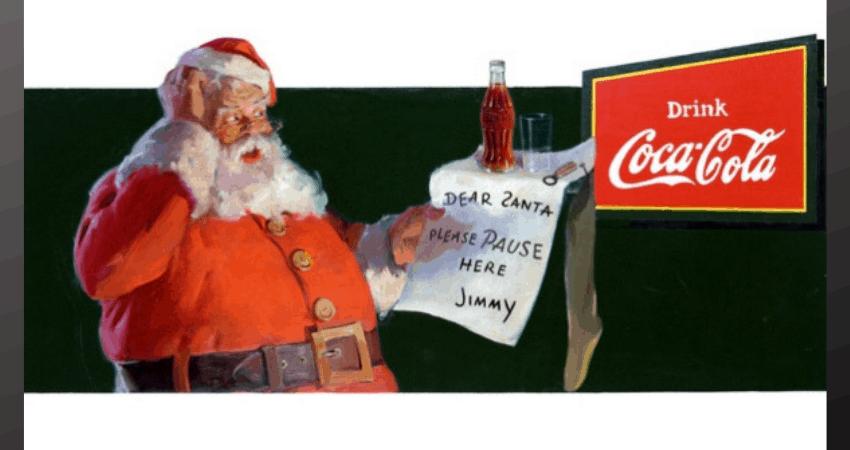 Un dessin du père Noël lisant une lettre pour le logo de Coca-Cola.