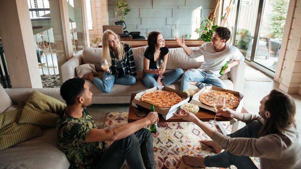 Kotbubbel vrienden zetel pizza
