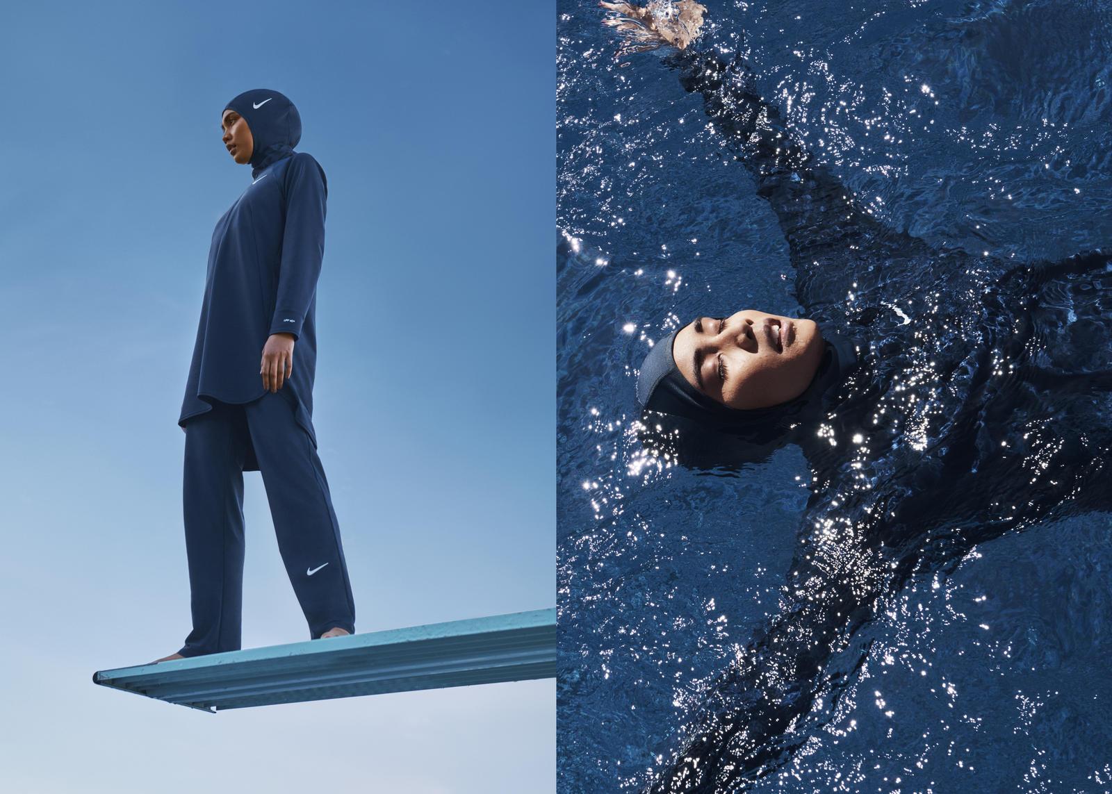 Nike a dévoilé sa nouvelle collection de maillots de bain, parmi laquelle on retrouve une combinaison intégrale et un hijab de bain.