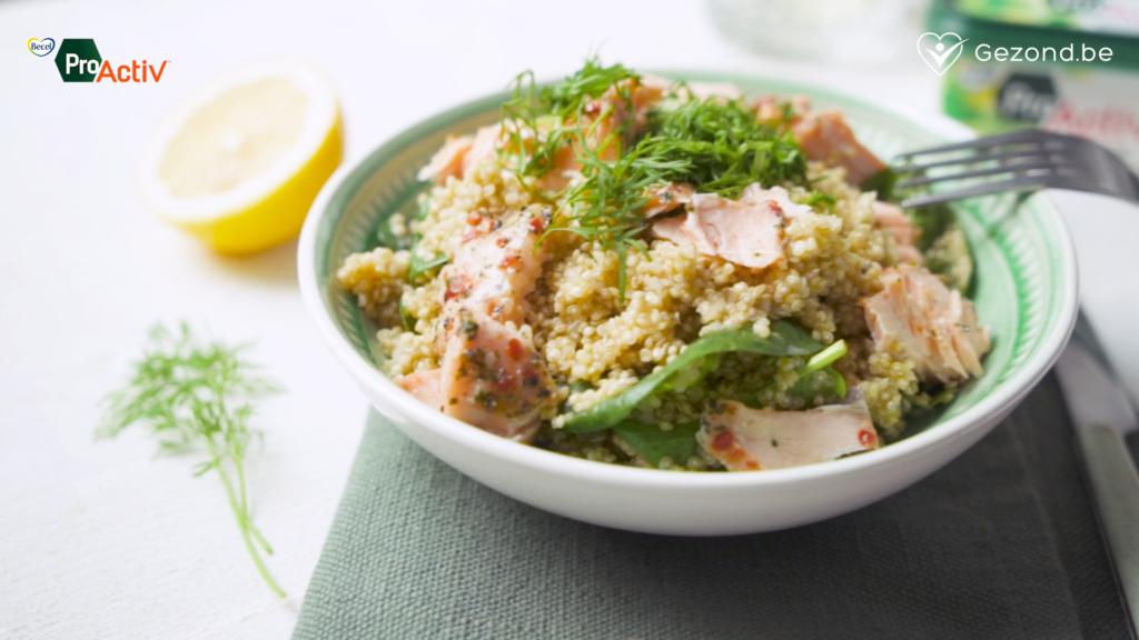 Quinoa met zalm, spinazie en dille