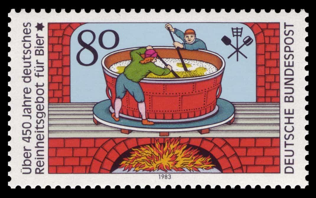 Een postzegel toont twee brouwers die brouwen volgens het Reinheitsgebot.