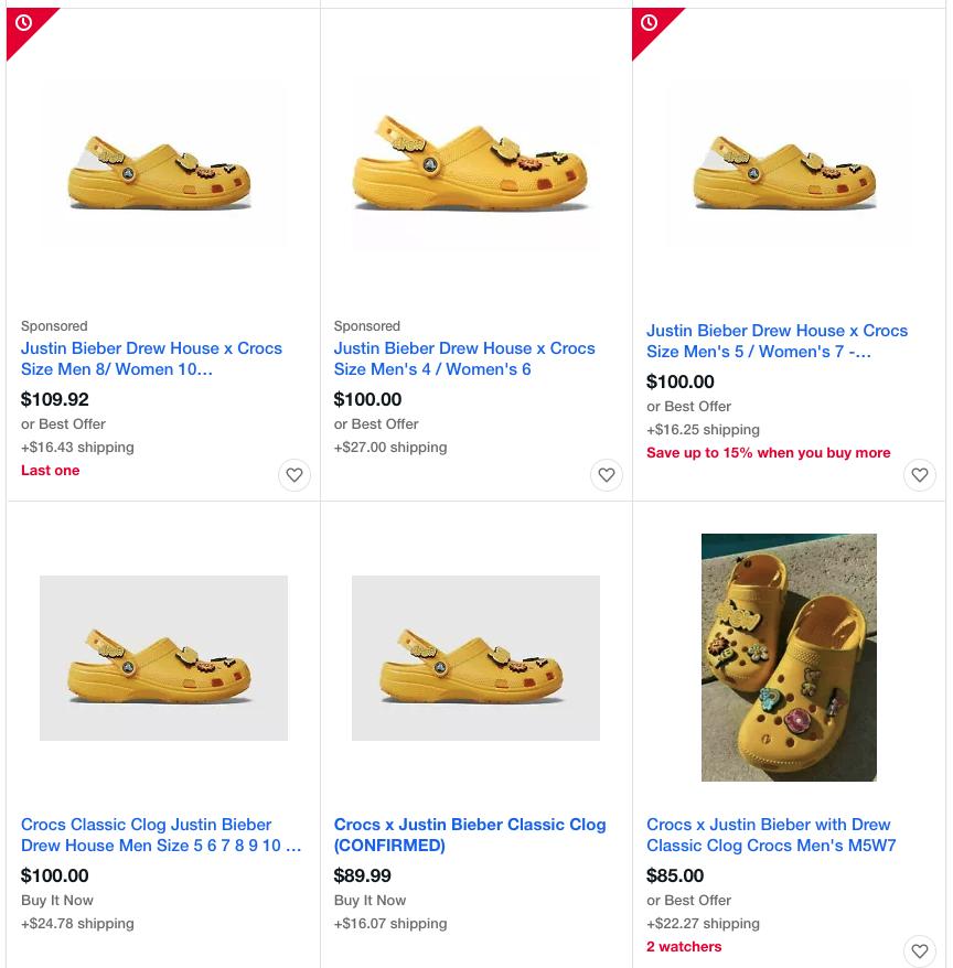 Crocs Justin Bieber eBay