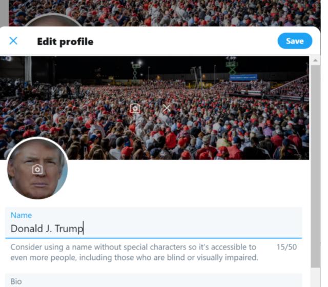 Screenshot Hack Trump Twitter