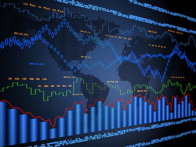 Des courbes décrivant les évolutions d'indicateurs financiers tracées par des algorithmes