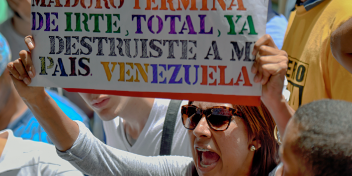 Woman protests against Maduro in Venezuela