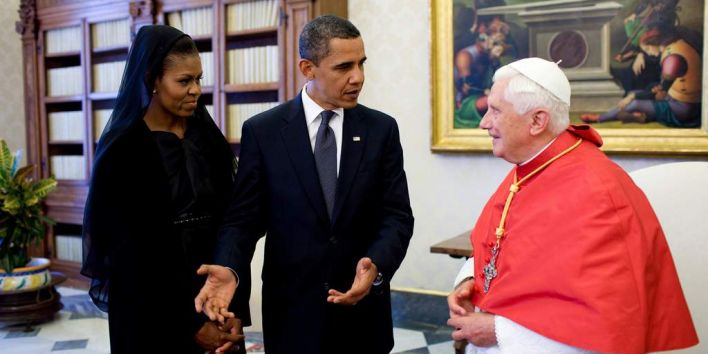 Michelle and Barack Obama with pope Benedictus