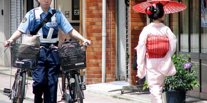 japan police geisha woman