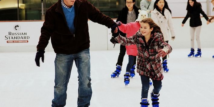 parent father daughter skating sport