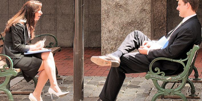 man woman work conversation talk gossip