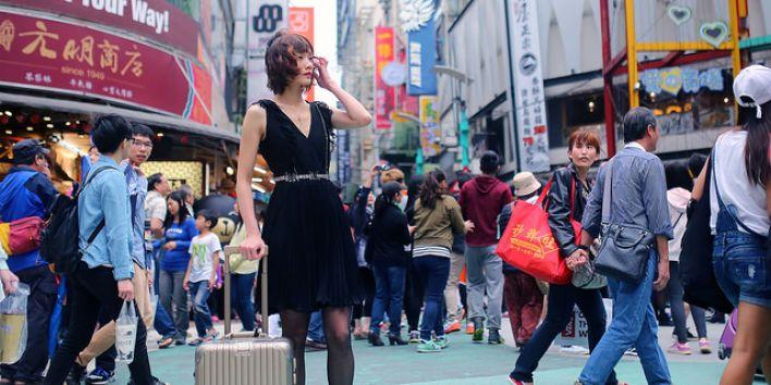 Taipei Taiwan city crowd girl phone japanese people