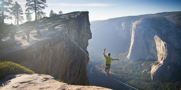 Yosemite National Park walk rope