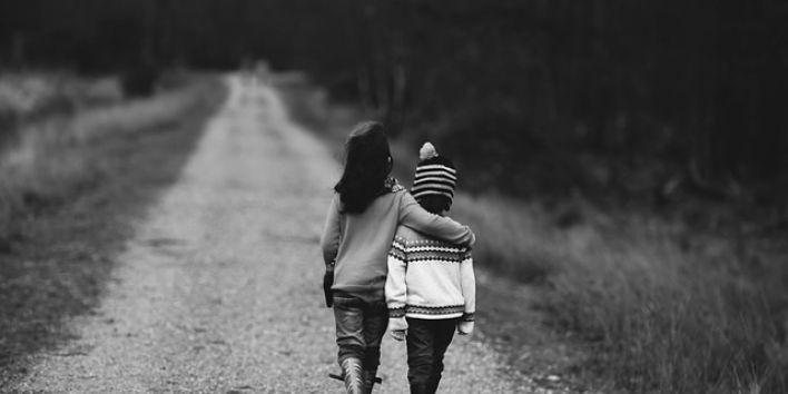 children-kids walk path support help