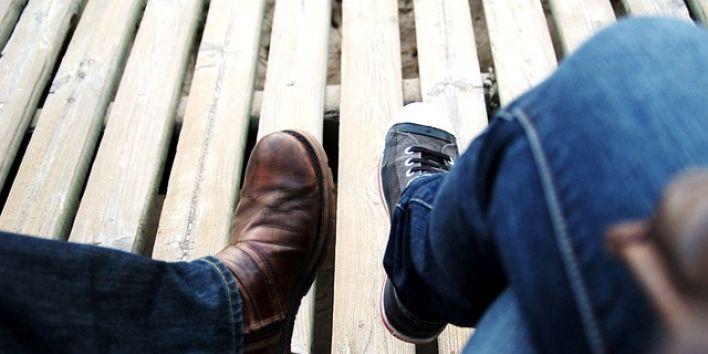 feet shoes sit conversation talk listen rest