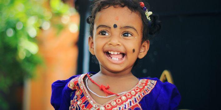 india little girl happy smile