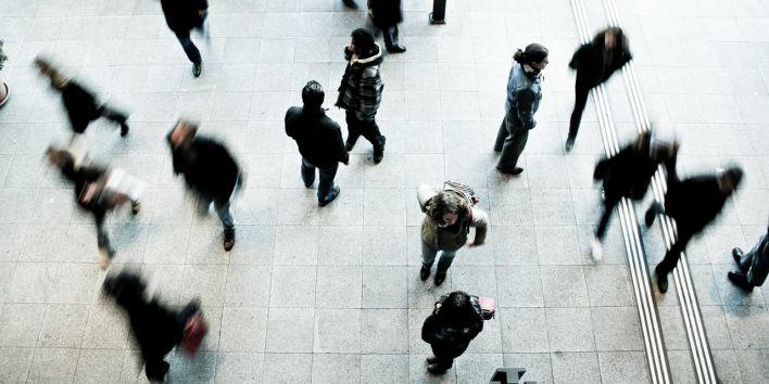 pedestrians people street stress hurry