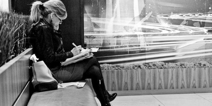 woman write note work flickr Dana Voss