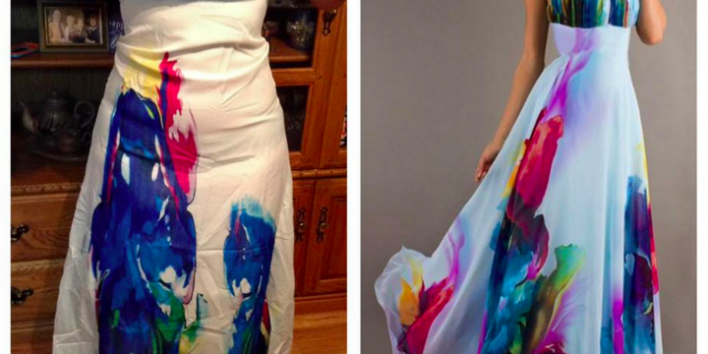 """A woman who bought the dress from RoseGal posted what she received in the Facebook group """"Knock Off Nightmares"""""""