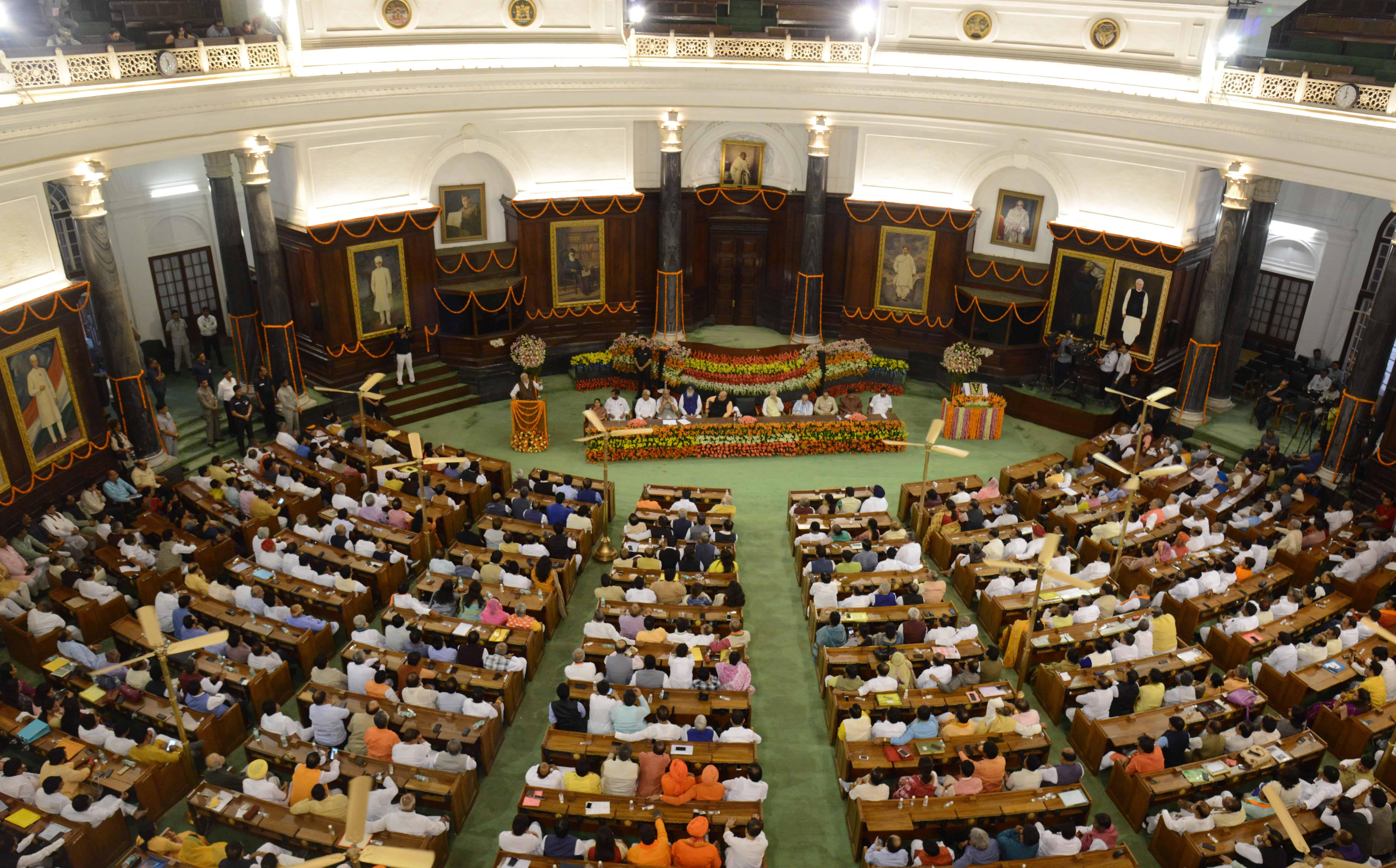 Een beeld van het parlement van India.