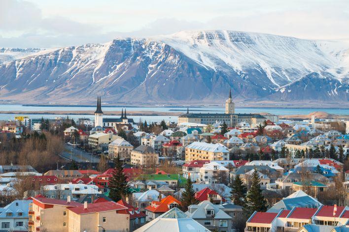 Een beeld van de stad Reykjavik
